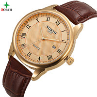 NORTH Fashion Male Wristwatch Luxury Brand 30M Waterproof Genuine Leather Casual Clock 2017 Military Quartz Business