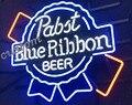 Pabst синяя лента пивной бар стеклянная неоновая световая вывеска