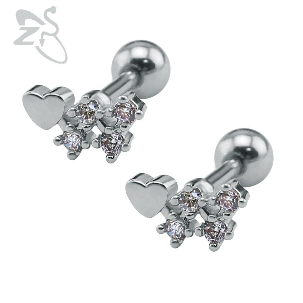 Jewelry amp watches gt fashion jewelry gt body jewelry gt body piercing - 1 Pair New Luxury Heart Crystal Ear Studs Earrings Fancy Shape Ear Piercings Stainless Steel Women
