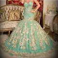 2017High Quality Appliques Lace Green Wedding Dresses Tulle Sweetheart Ball Gown Off the Shoulder Vestido De Noive Custom Made