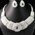 Excelentes Nupcial Negro Diamante de Cristal Elegante Collar Pendientes de La Joyería 4Z26