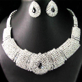 Excellent Bridal Black Diamante Crystal Elegant Necklace Earrings Jewelry Set   4Z26