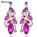 Minlover 4 Colors Austrian Crystal Gold Plated Long Earrings for Women Wedding Jewelry Drop Earrings EH708