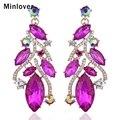 Minlover 4 Cores Banhado A Ouro de Cristal Austríaco Brincos Longos para As Mulheres da Jóia Do Casamento Brincos EH708