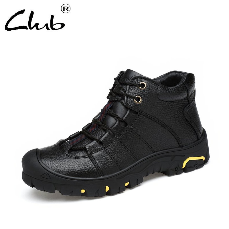 Club Genuine Leather Snow Boots Mens Lace-up Winter Plush Leather Boots Fashion Handmade Men Casual Ankle Boots Botas Masculina muhuisen winter men genuine leather shoes fashion casual plush warm boots lace up flats male snow boots fur inside comfort