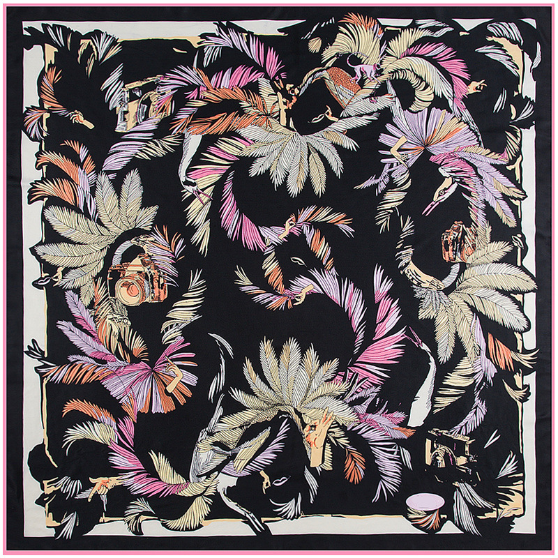 autumn new shelves, jungle birds feathers women's silk scarves luxury brand, 130 * 130 square ladies scarves, infinite shaw