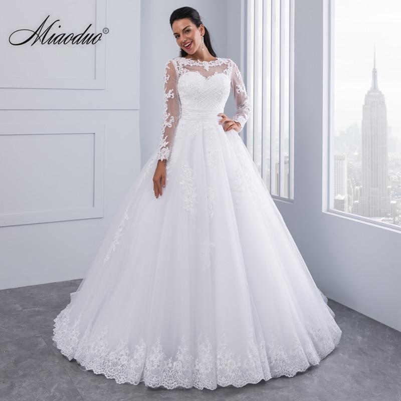 Ball Gown 2 in 1 Wedding Dresses 2019 Detachable train Lace Appliques Pearls Bridal Gowns Vestido De Novias Vestidos de Noiva(China)