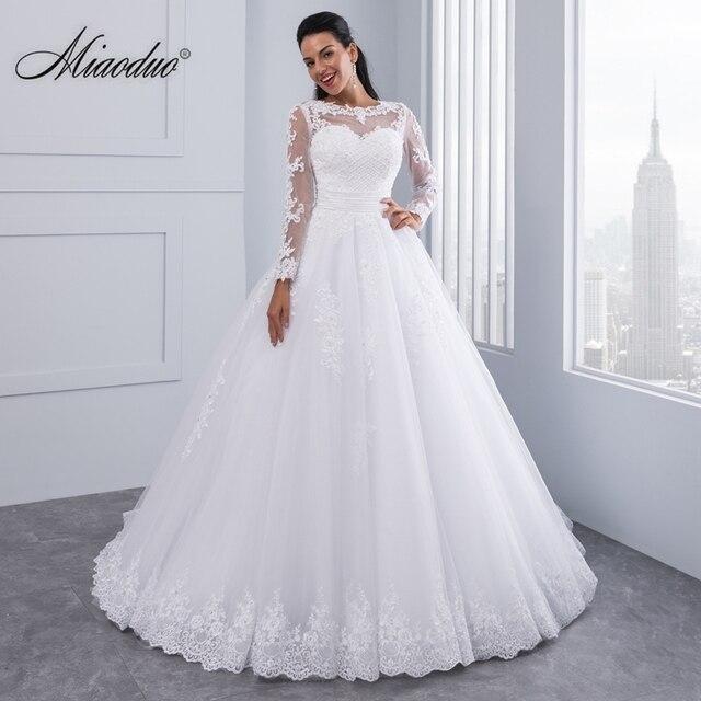 a8ba250e Ball Gown 2 in 1 Wedding Dresses 2019 Detachable train Lace Appliques  Pearls Bridal Gowns Vestido De Novias Vestidos de Noiva