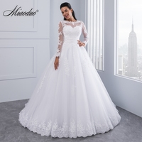 Miaoduo Ball Gown Wedding Dresses 2017 New Detachable Train Lace Appliques Pearls Bridal Gowns Crystal Sashes