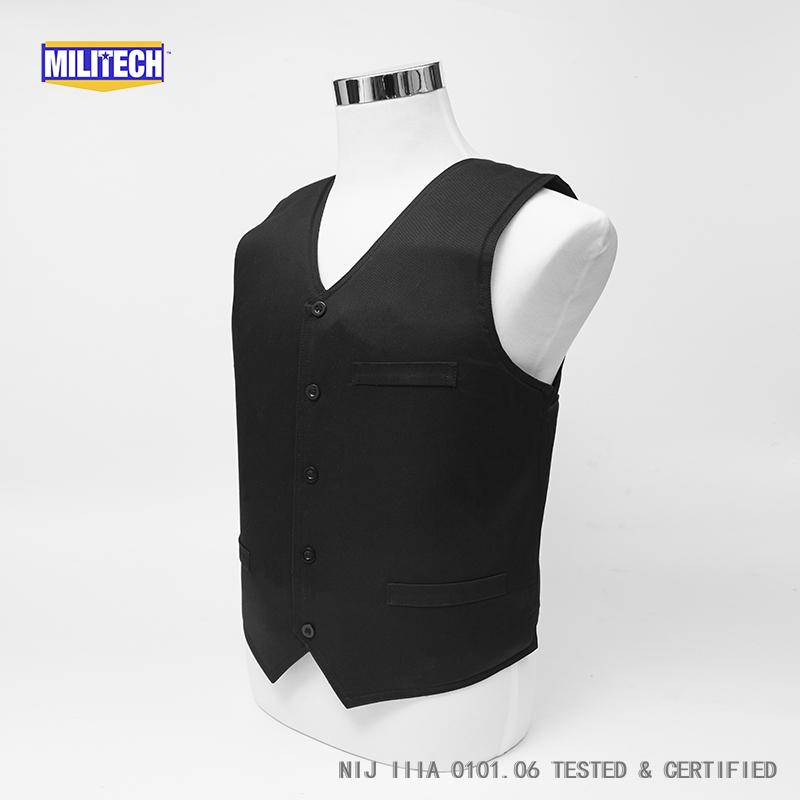 Image 2 - Militech Ballistic BulletProof Vest NIJ IIIA 3A and Level 2 Stab VIP Black Concealable Covert Twaron Aramid Bullet proof Vest-in Safety Clothing from Security & Protection