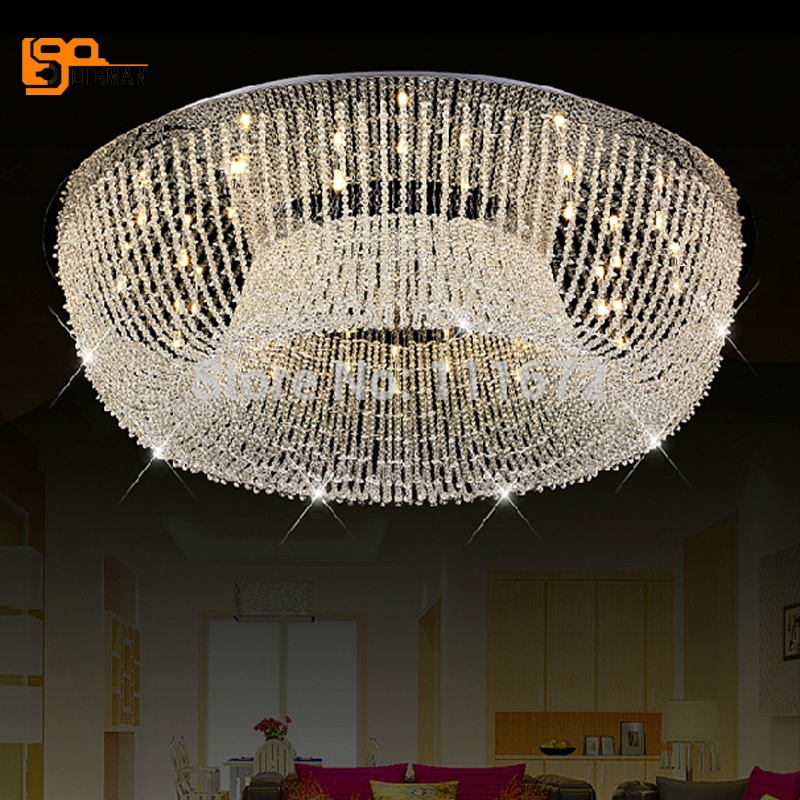 new round crystal Ceiling Lamp light Fixture for living room modern lighting chandelier купить
