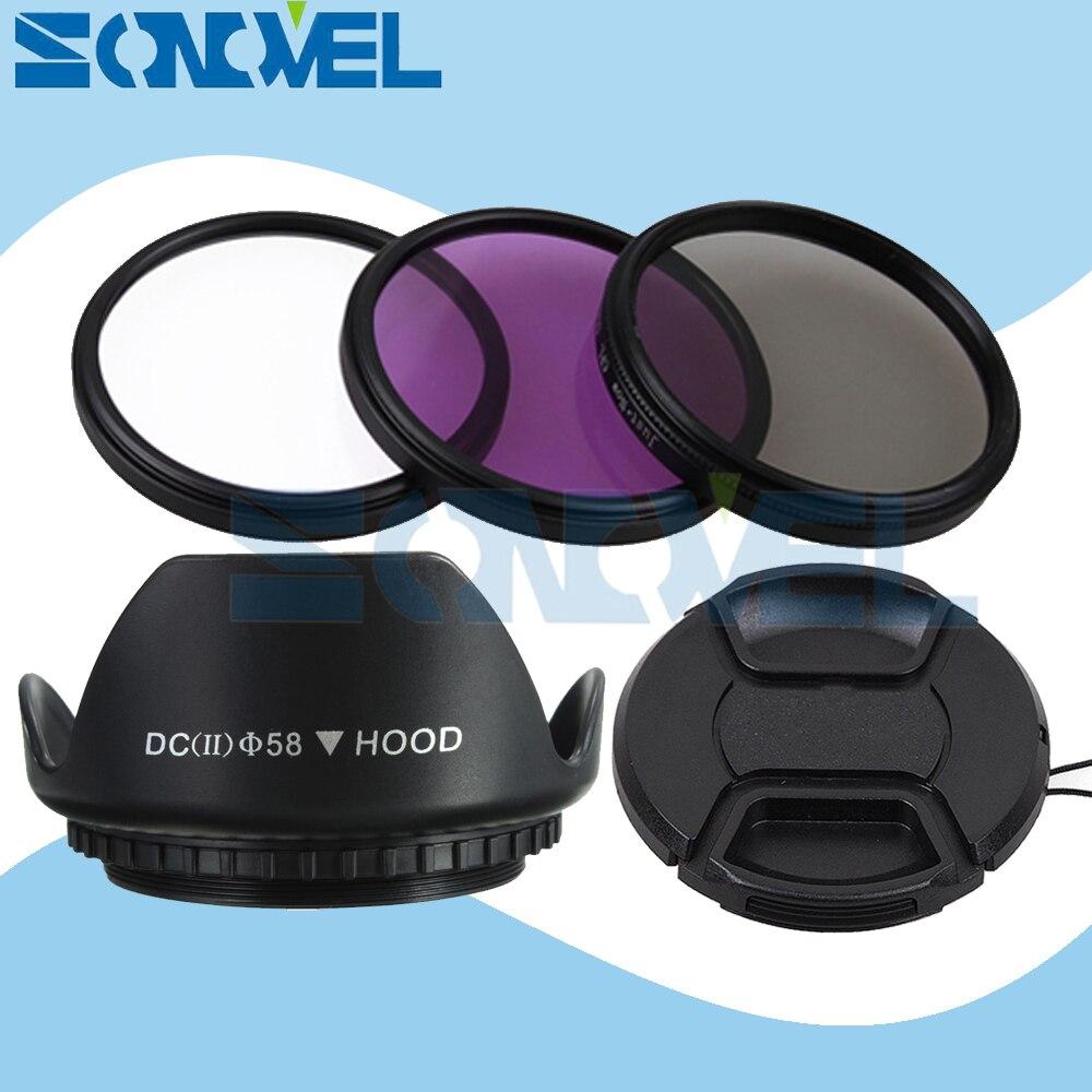 58mm UV CPL FLD Kit de filtro + lente Cap + parasol flor Canon 1300D 800D 760D 750D 650D 100D 80D 70D 77D 60D con 18-55mm