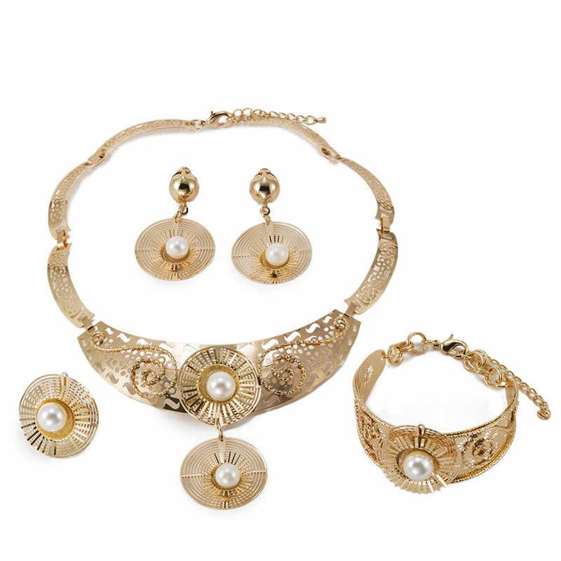 MUKUN משלוח משלוח 2018 פנינת אפריקה יוקרה תכשיטי סט אופנה הכלה ניגריה נשים של זהב מסיבת חתונת דובאי תכשיטי סט
