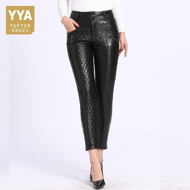 2018 Nuovo Inverno Giù I Pantaloni per Le Donne Slim Fit Caldo Matita di cuoio Dei Pantaloni Top Quality Nero In Pelle A Vita Alta Pantalon Femme