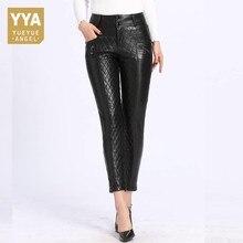 2019 invierno nuevos pantalones de plumón para mujer Slim Fit Warm cuero lápiz Pantalones negro de alta cintura de alta calidad femme