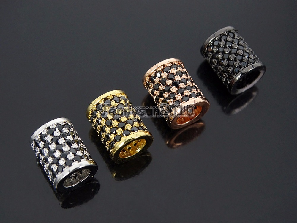 Black Zircon Gems Stone Pave Cylinder Tube Bar Bracelet Connectore Charm Beads Silver Gold Rose Gold Gunmetal  10Pcs/Pack