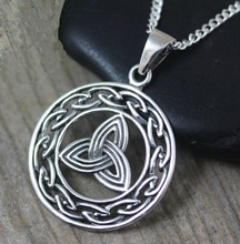 alloy Knot Necklace Triquetra Knot Jewelry With Birthstone and Initial Mothers daughter gift 070(China)