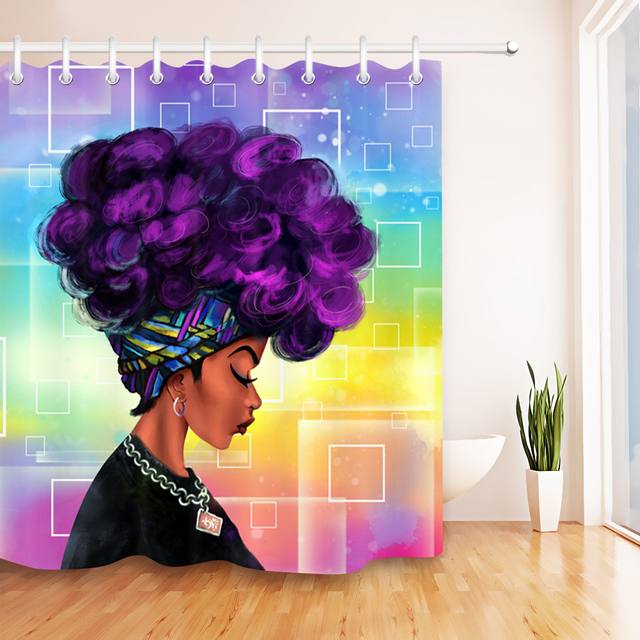 Beauty Salon Purple Afro African American Woman Waterproof Bathroom Shower Curtain Polyester Fabric