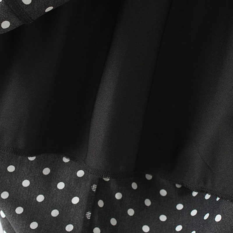 GCAROL 2019 Donne di Estate della Molla Elegante del Puntino di Polka del Pannello Esterno Lungo di Grande Larghezza Del Bordo Fodera In Poliestere OL Pannello Esterno di Stile di Celebrità