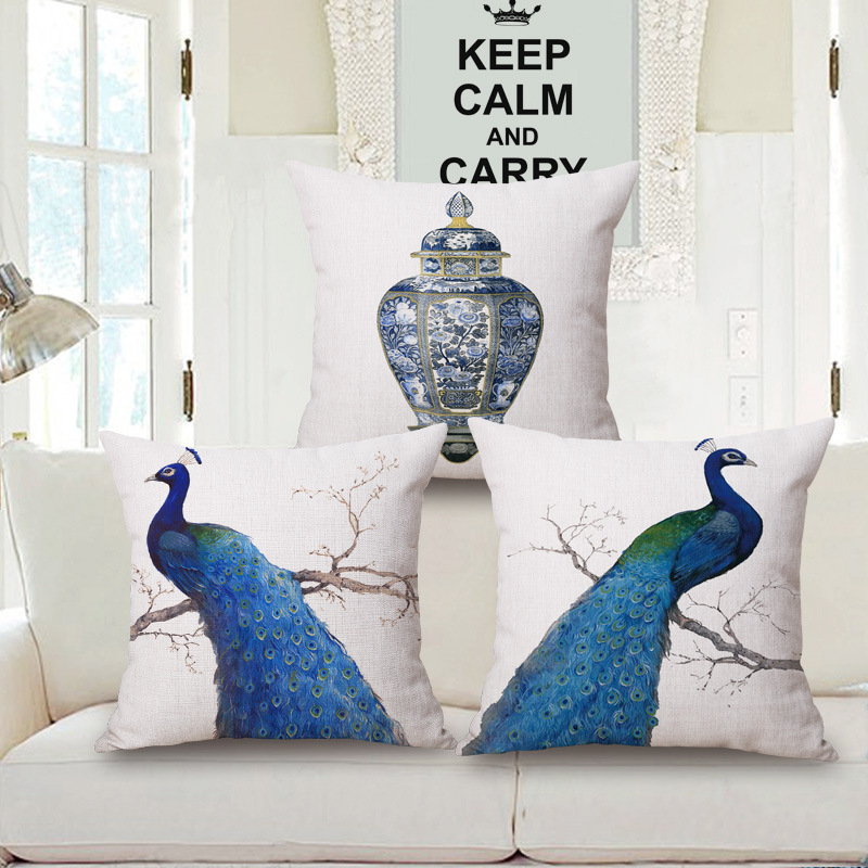 Ink Painting Style Peacock Pattern Cotton Pillow Cover Blue Peacock Sofa  Cushion Covers