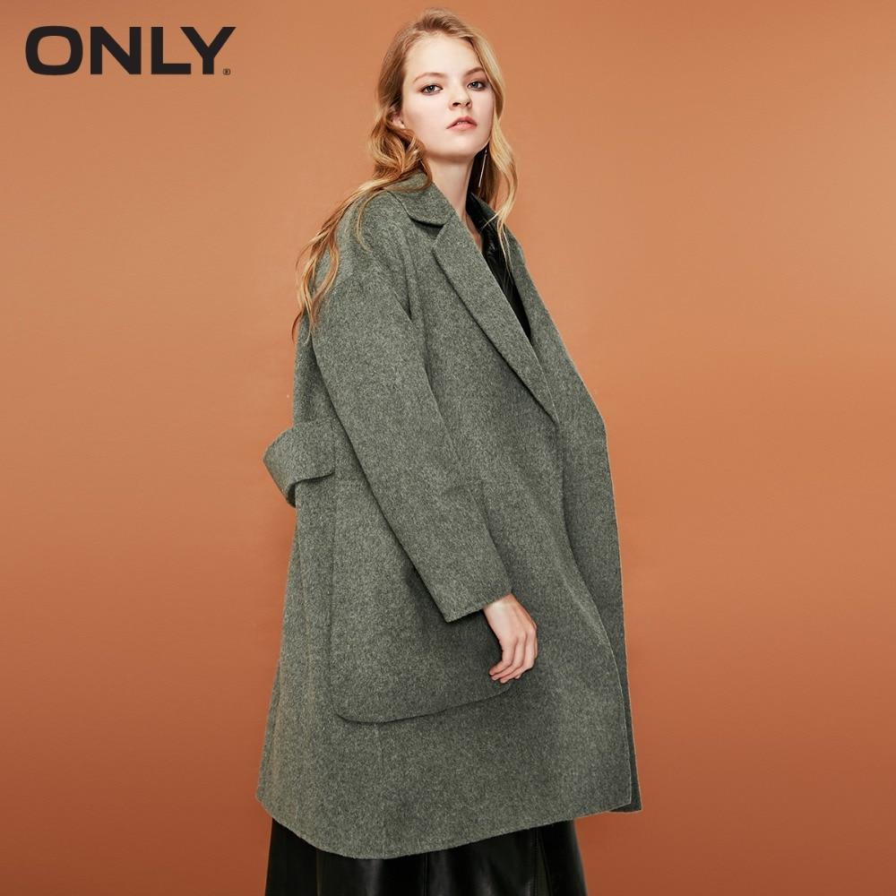 유일한 여자의 겨울 새로운 양면 양모 긴 모직 코트 보이지 않는 단추 옆을 터 놓은 부분 {ractical 큰 주머니  11844s506-에서울 & 블렌드부터 여성 의류 의  그룹 1
