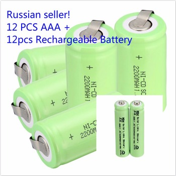 Russian seller!12 pcs Sub C SC battery 1.2V 2200 mAh Ni-Cd NiCd 4.25CM*2.2CM+12PCS AAA Garden Lights Solar Rechargeable Battery