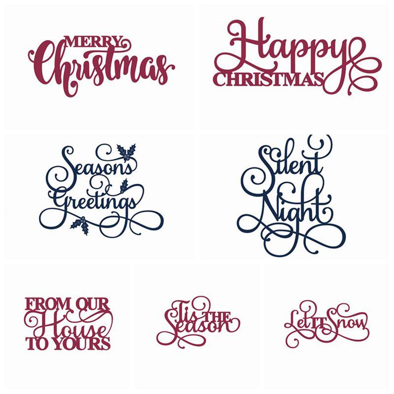 merry christmas words metal cutting dies stencil for diy scrapbooking photo album embossing paper cards making - Merry Christmas Words