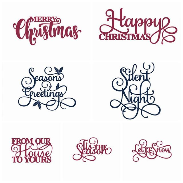 Merry Christmas Words Metal Cutting Dies Stencil for DIY ...