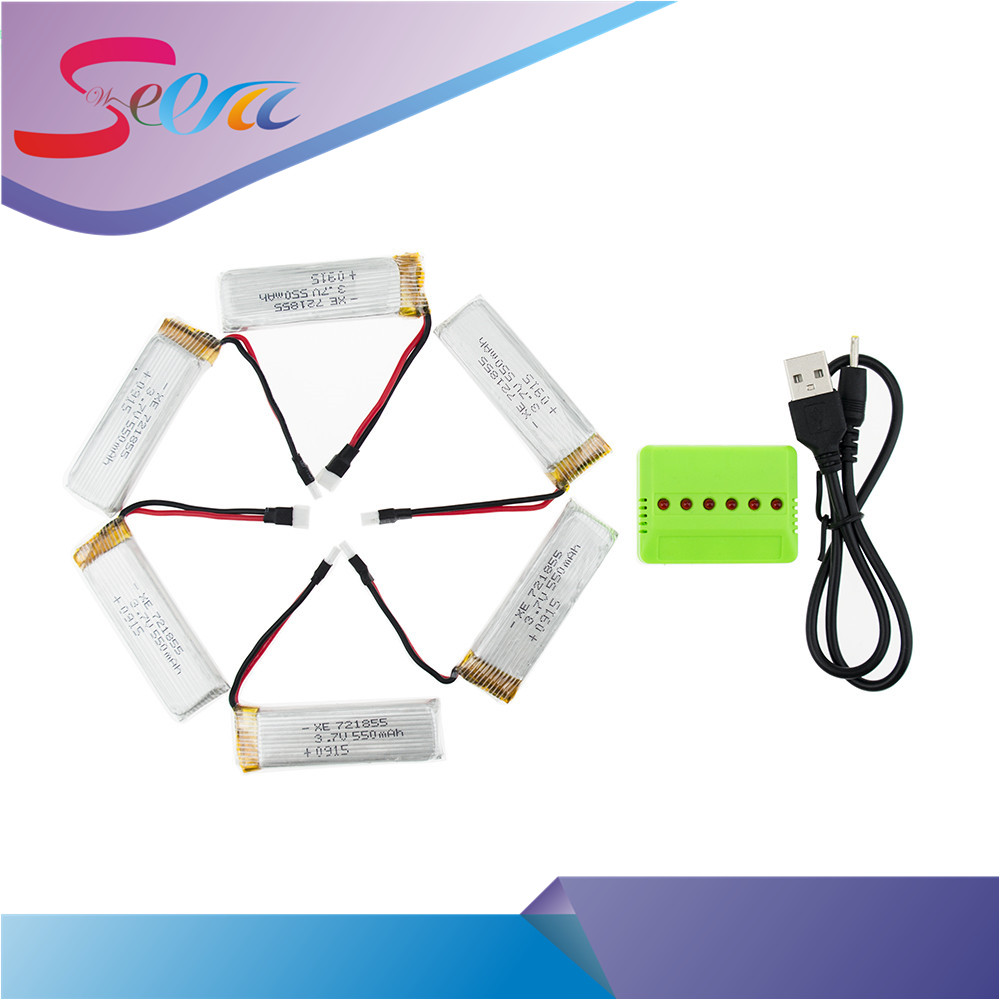 6pcs Q282G JJRC H37 3.7v 550mah Lipo Battery Wltoys V977 V930 V988 Batteries Charger RC Helicopter Drone Spare Part Wholesale original wltoys v950 rc helicopter spare part 11 1v 1500mah battery in stock