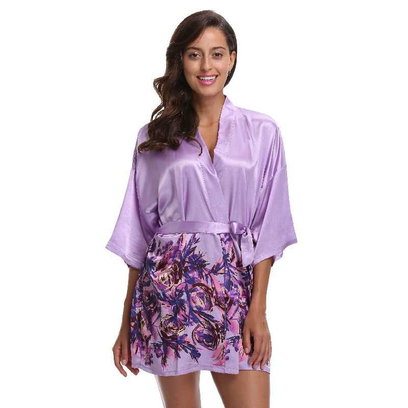 6ded909ad5996 Floral Short Robes Roses Print Bride Bridesmaid Robes Faux Silk Shiny  Fabric Removable Belt Lavender Kimono