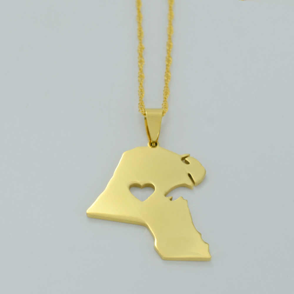 Gold Color Kuwait Maps Pendant Necklace for Women Men Map of Kuwait Jewelry #J0373