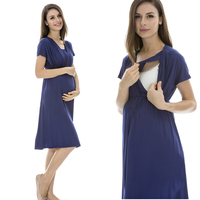 European Style V Neck Nursing Dress Pregnant Maternity Breastfeeding Dress