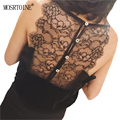 MOSRTOINE Women Lace Camis 2017 Summer Sexy Black Lace V-Neck Backless Hollow Out With Bottons Women Sexy Camis Plus Sizes L New