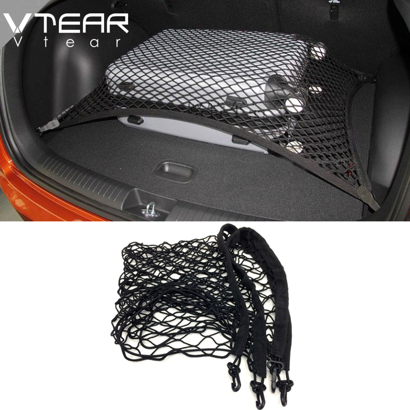 Vtear For hyundai ix25 creta 2017 2018 accessories Car Trunk Rear Storage Cargo Network trunk Luggage net Elastic Mesh 70x70CM коврики в салонные ниши синие ix25 для hyundai creta 2016