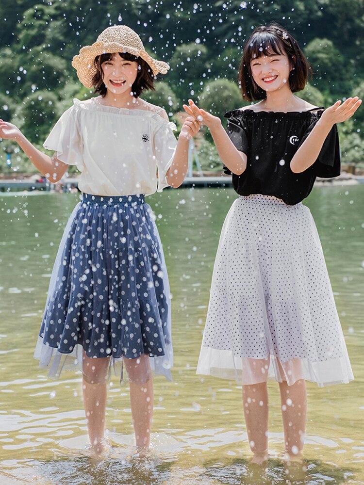 Милые Юбки принцессы в стиле Лолиты; Летняя короткая юбка в винтажном стиле с волнистым узором; юбка средней длины для студентов; Женская юбка; BYJ196