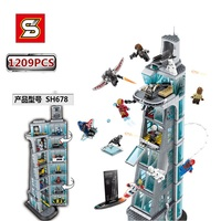 SY SH678 1209pcs Building Block Upgraded Version Super Hero Attack On Tower 12 Figuras Compatible 76038 Toy