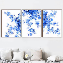 Blue and White Chinese New Style Classical Decorative Painting Flower Wall Art Pictures Home Decor For Living Room Canvas