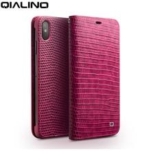 QIALINO Echtes Leder Handy Fall für iPhone X/XS/XR Mode Luxus Handgemachte Frauen Tasche Karte Slot Flip abdeckung für iPhone XS Max