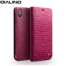 Qialino 아이폰 x/xs/xr에 대 한 정품 가죽 전화 케이스 아이폰 xs 맥스에 대 한 패션 럭셔리 수 제 여성 가방 카드 슬롯 플립 커버