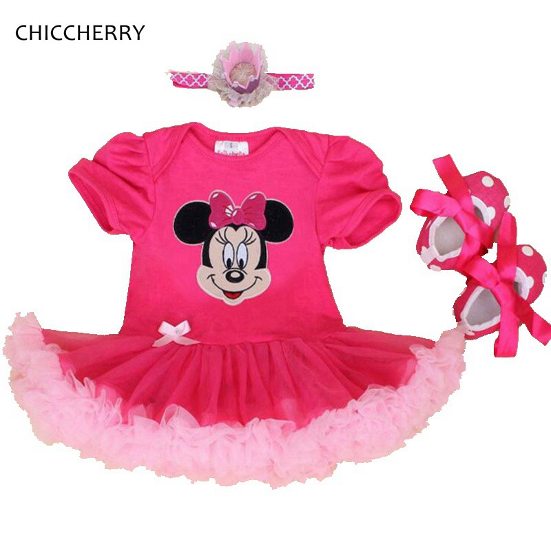 Minnie Applique Baby Girl Summer Clothes Lace Petti Rompers Crib Shoes Headband 3PCS Newborn Tutu Sets Infant Girls Clothing