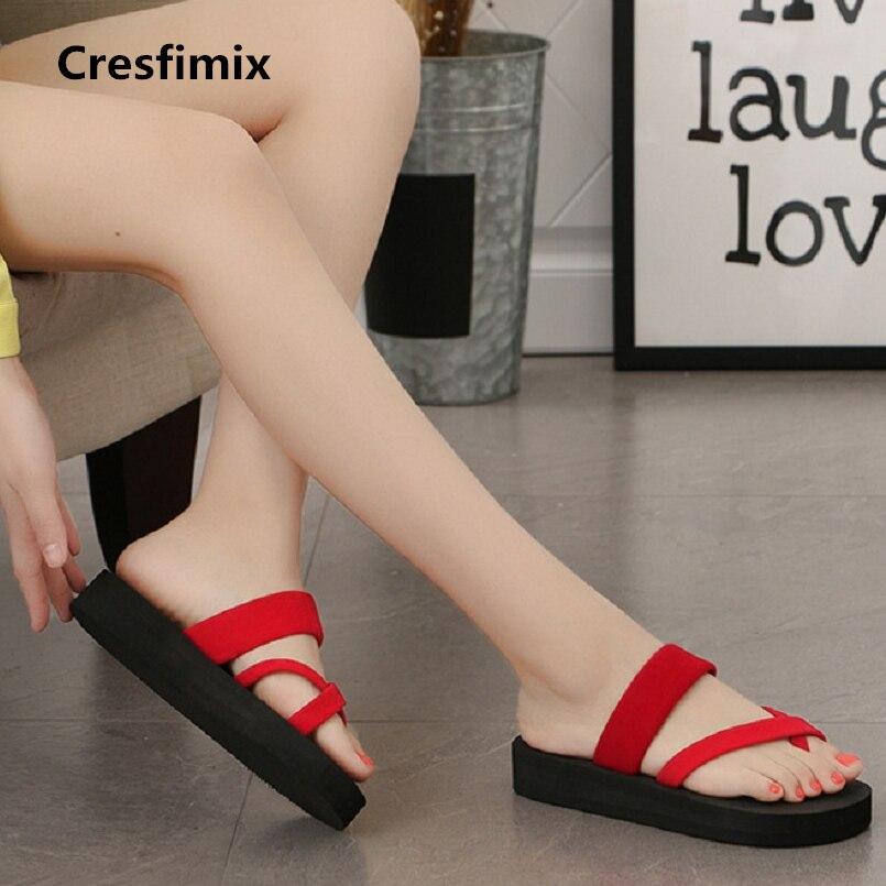 Cresfimix women casual eva comfortable red flip flops lady cute comfortable 3cm heel black flip flops woman cool flip flops a441