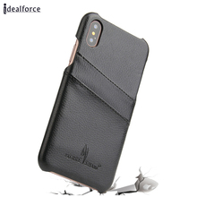 For iPhone X Wallet Phone Case,Genuine Lichee Leather Bumper Case With Credit Card Slot for Samsung Note 8 S 6 7 8 Plus