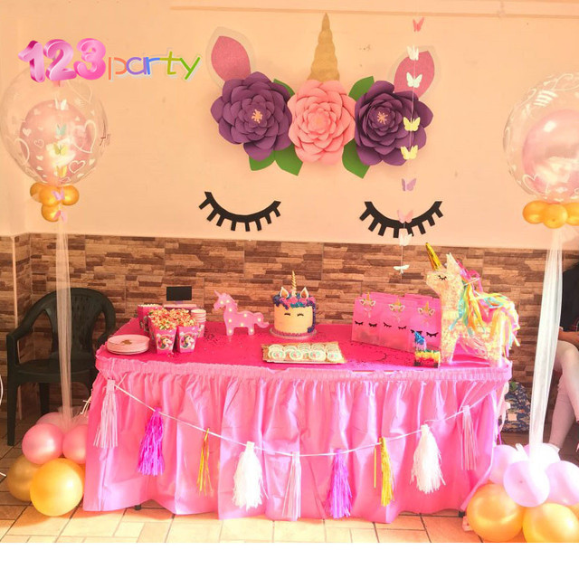 123 Party Unicorn Backdrop Photo Baby Shower Rainbow Birthday Themed DIY Decorations Unicornio
