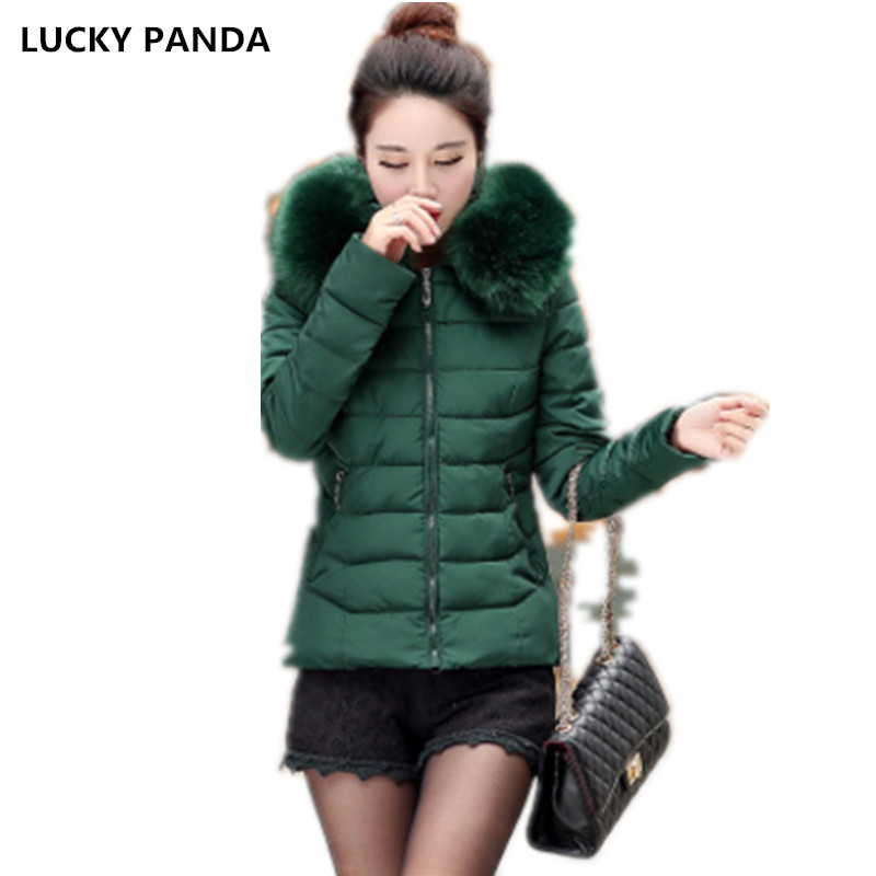 Lucky Panda 2016 New winter short thick cotton feather female hooded color fur collar coat LKP240 lucky panda 2016 the new winter coat and female slim in the long and small lattice fragrant cotton lkp243