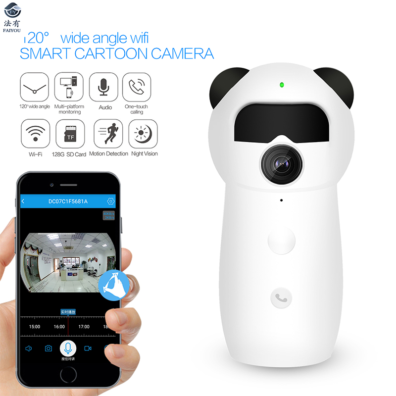 Cartoon WIFI Remote IP Camera P2P H.264 1080P HD Network Baby Surveillance Monitor Smart Home Child Care CCTV IR Motion Detect