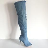 Джинсовые синие сапоги выше колена, зимние женские сапоги с плюшевой подкладкой, с вырезами, на очень высоком каблуке, с открытым носком,