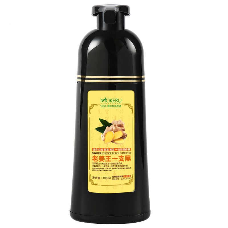 1 adet Mokeru doğal hızlı saç boyası şampuan zencefil saç boyası kalıcı siyah şampuan kadınlar ve erkekler için gri saç kaldırma