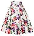 Mulheres verão saias faldas de cintura alta Rockabilly saia Casual fina do Vintage plissada Floral impressão Jupe roupas femininas saia das mulheres