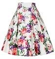 Verano mujer faldas faldas de cintura alta Rockabilly falda ocasional adelgazan Vintage plisado Jupe estampado Floral ropa para mujer de la falda para mujer