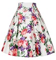 Women Summer Skirts faldas High Waist Rockabilly Skirt Casual Slim Pleated Vintage Floral Print Jupe Female Clothes Skirt Womens